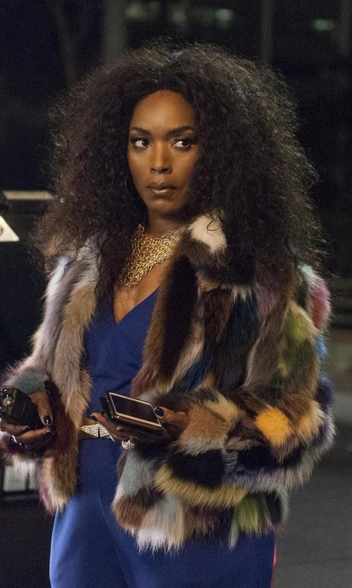 Angela Bassett with Trina Turk 'Makayla' Patchwork Faux Fur Coat in American Horror Story