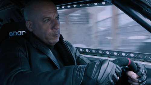 Vin Diesel with Hatch Reactor 3/4 Finger Glove in The Fate of the Furious
