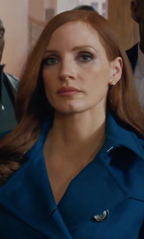 Jessica Chastain with Burberry Cashmere Sandringham Trench Coat in Molly's Game
