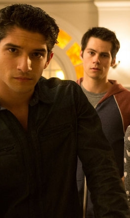 Tyler Posey with Calvin Klein Jeans Denim Block Shirt in Teen Wolf