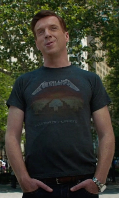 Damian Lewis with Metallica Master Of Puppets Distressed T Shirt in Billions