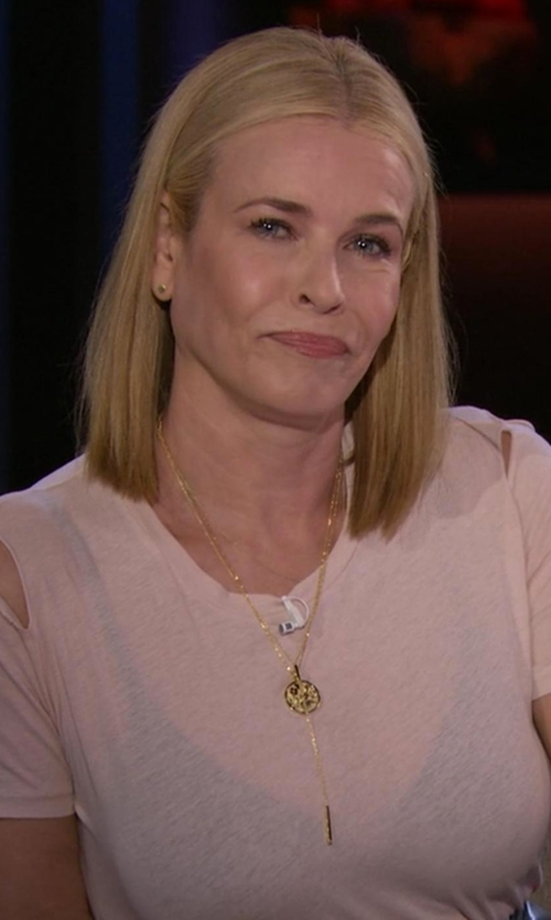 Chelsea Handler with AX Paris Cut Out Shoulder Textured Top in Chelsea