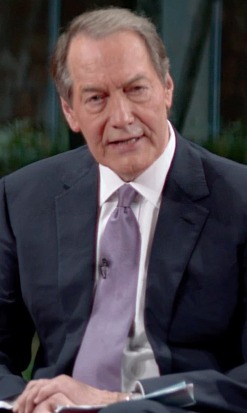 Charlie Rose with Forzieri Gold Line Solid Woven Silk Tie in Top Five