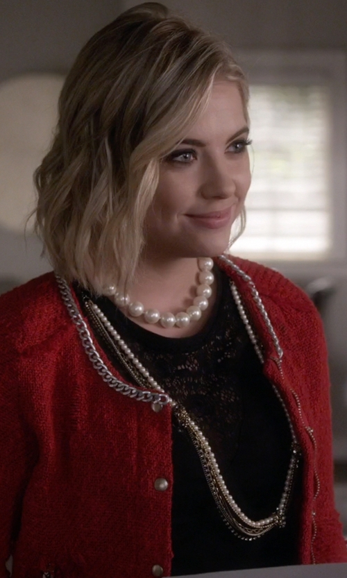 Ashley Benson with Majorica Pearl & Sterling Silver Necklace in Pretty Little Liars