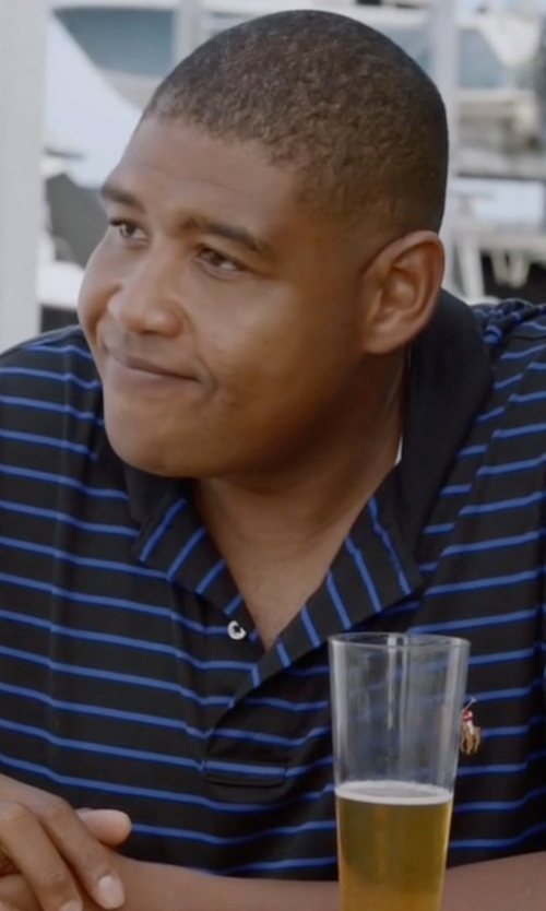 Omar Benson Miller with Polo Ralph Lauren Men's Striped Soft-Touch Polo Shirt in Ballers