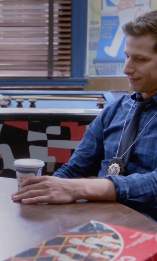 Andy Samberg with Shuttle Notes Indigo Poplin Shirt in Brooklyn Nine-Nine