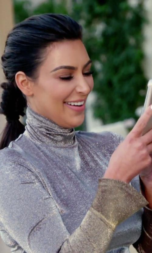 Kim Kardashian West with Audra Autumn Winter 2016 Metallic Dress in Keeping Up With The Kardashians