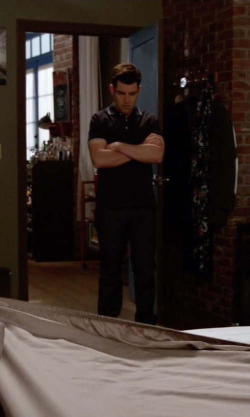 Max Greenfield with Armani Jeans Striped Trim Polo Shirt in New Girl