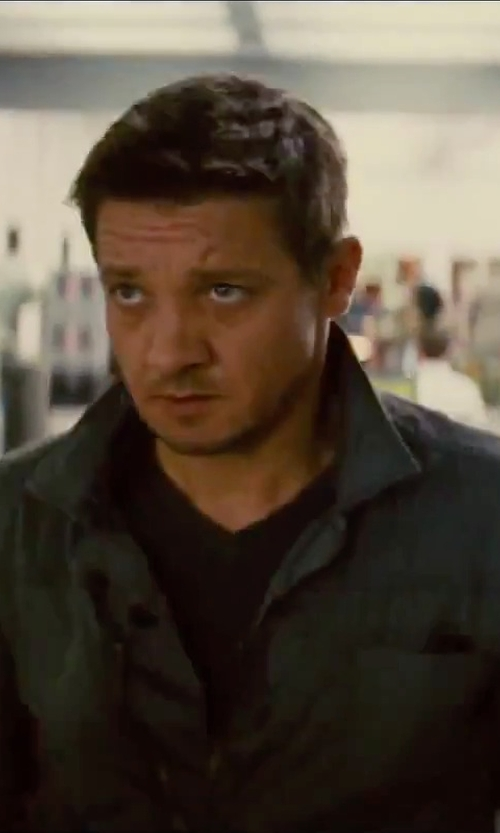 Jeremy Renner with AllSaints Gray Kicker Denim Jacket in Mission: Impossible - Rogue Nation
