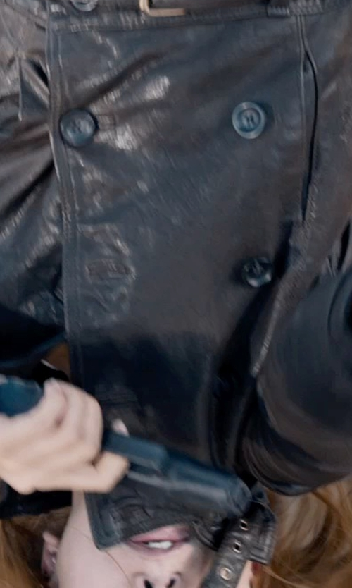 Scarlett Johansson with Madewell belted leather bomber in Captain America: The Winter Soldier