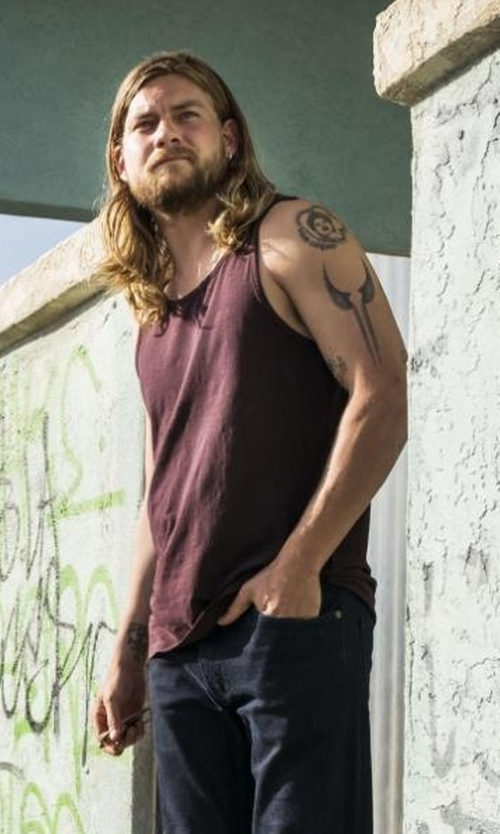Jake Weary with Topman Classic Fit Tank Top in Animal Kingdom