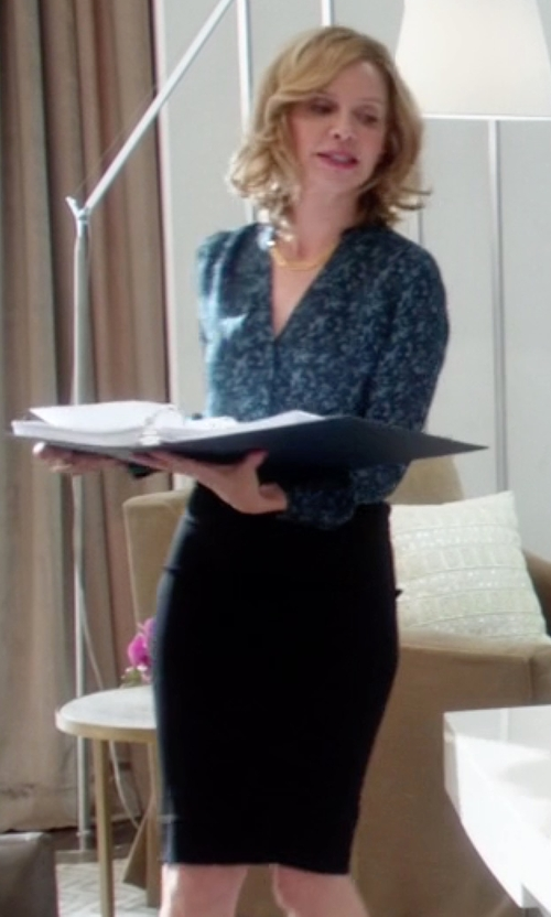 Calista Flockhart with J. Crew No. 2 Cotton Twill Pencil Skirt in Supergirl