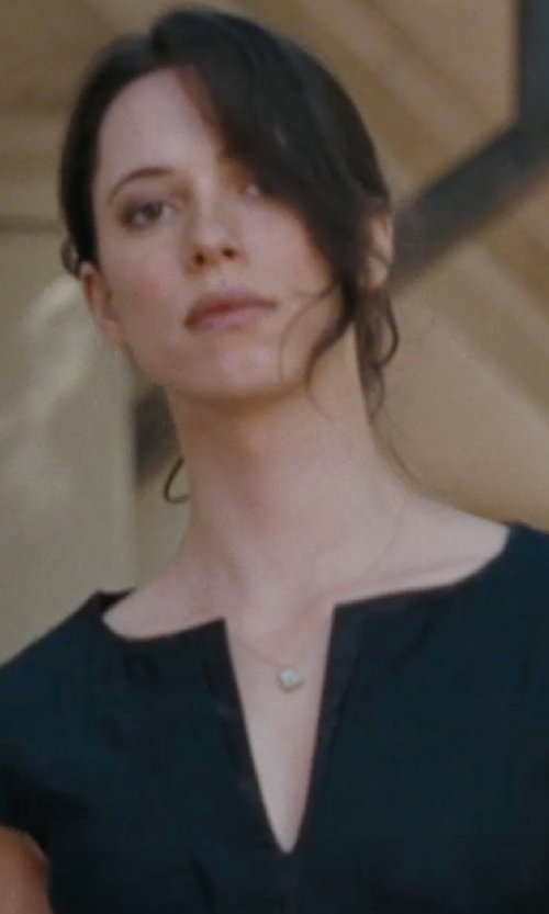 Rebecca Hall with Nina Genny Filigreed Pave Square Pendant Necklace in The Town