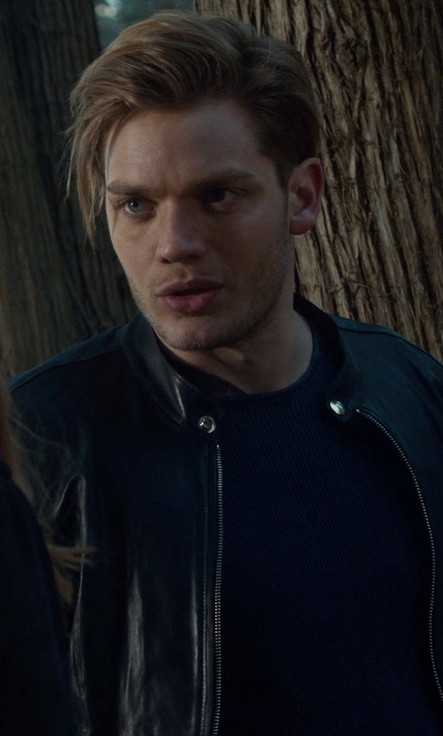 Dominic Sherwood with Diesel L-All-Row Leather Jacket in Shadowhunters