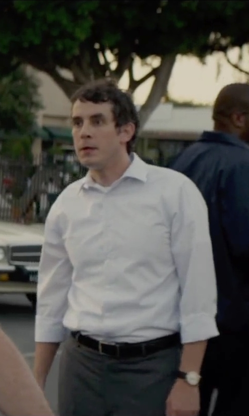 Tate Ellington with Henry Smith Plain Button Long Sleeve Shirt in Straight Outta Compton