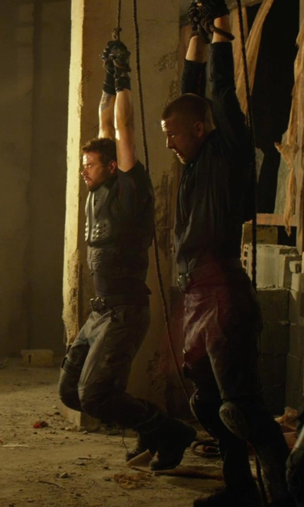Glen Powell with Leatt Brace EXT Knee and Shin Guard in The Expendables 3