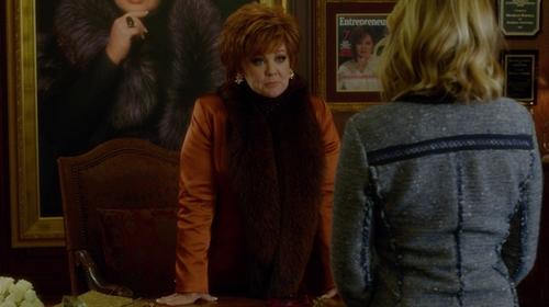 Melissa McCarthy with Adrienne Landau Mongolian Lamb Fur Boa Scarf in The Boss