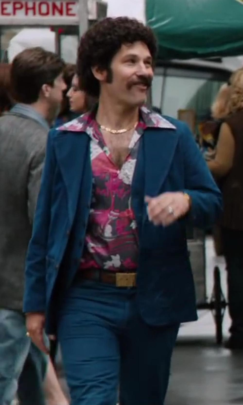 Paul Rudd with Versace Collection Denim pants in Anchorman 2: The Legend Continues