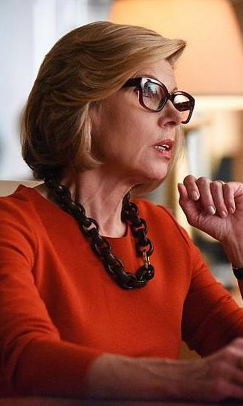 Christine Baranski with Kenneth Jay Lane Black Link Necklace in The Good Wife