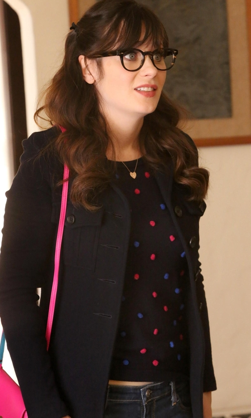 Zooey Deschanel with Anne Klein Women's Single-Breasted Wool Cashmere Coat in New Girl