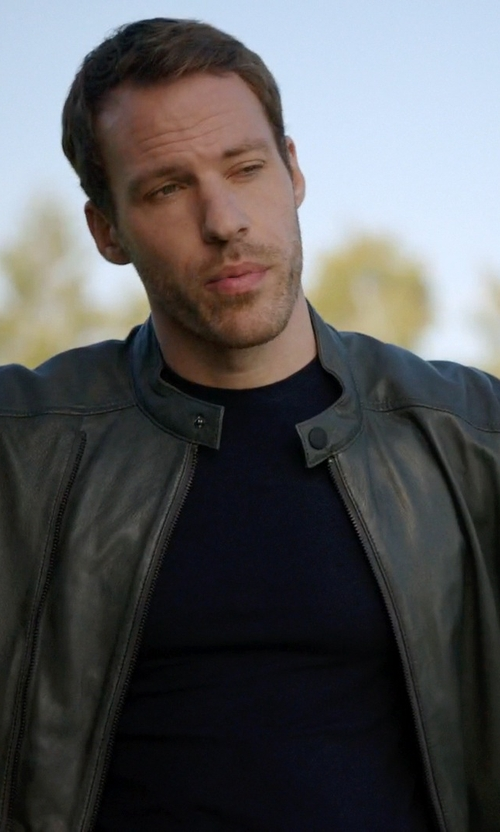 Falk Hentschel with Perry Ellis Faux-Leather Bomber Jacket in Arrow