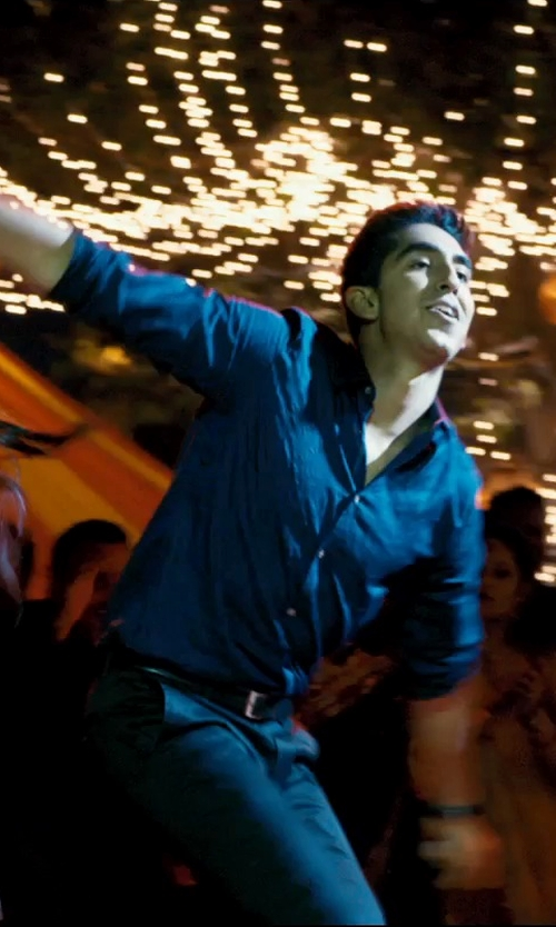 Dev Patel with Armani Collezioni Solid Stretch Sportshirt in The Second Best Exotic Marigold Hotel