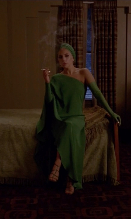 Lady Gaga with Halston Heritage One-Shoulder Bandage Gown in American Horror Story