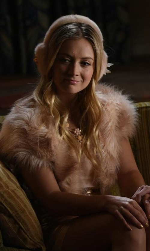 Billie Lourd with Joie Evina Open-Front Cardigan w/Detachable Faux Fur Collar in Scream Queens