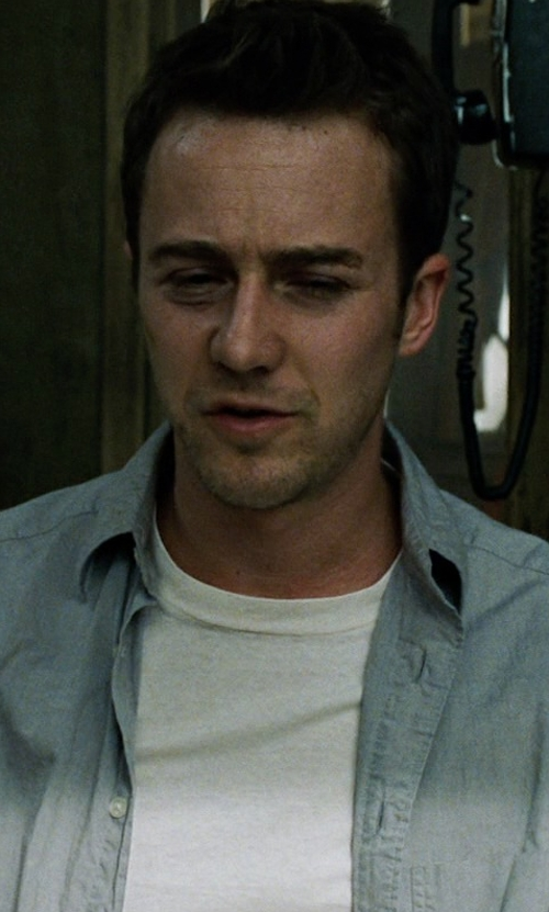 Edward Norton with Sunspel Crew-Neck T-Shirt in Fight Club