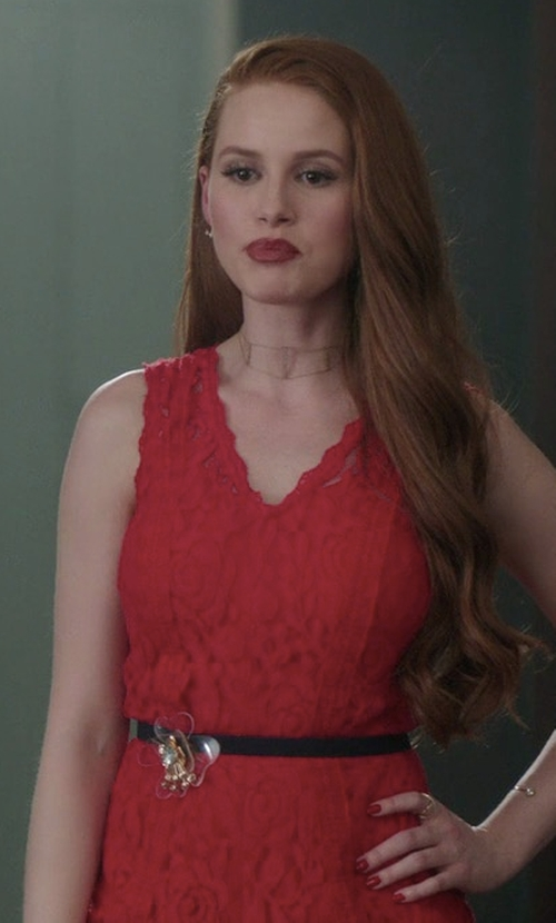 Madelaine Petsch with Blu Pepper Lace V-Neck Romper in Riverdale