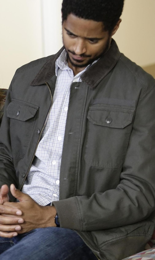 Alfred Enoch with John Varvatos Star USA Quilted Utility Jacket in How To Get Away With Murder