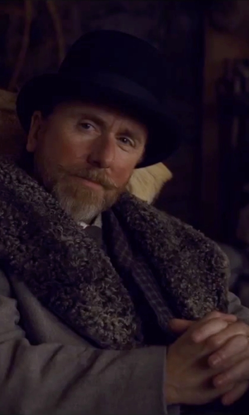Tim Roth with Brooks Brothers Fur Collar Chesterfield Coat in The Hateful Eight