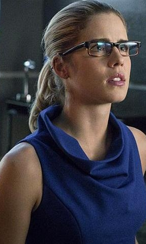 Emily Bett Rickards with Milly Cowl Neck Sheath Dress in Arrow