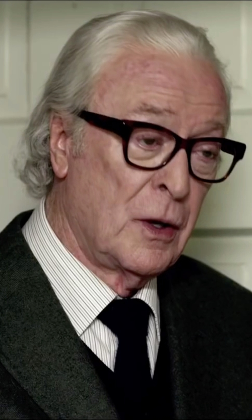 Michael Caine with Gucci Striped Cotton Point Collar Dress Shirt in Youth