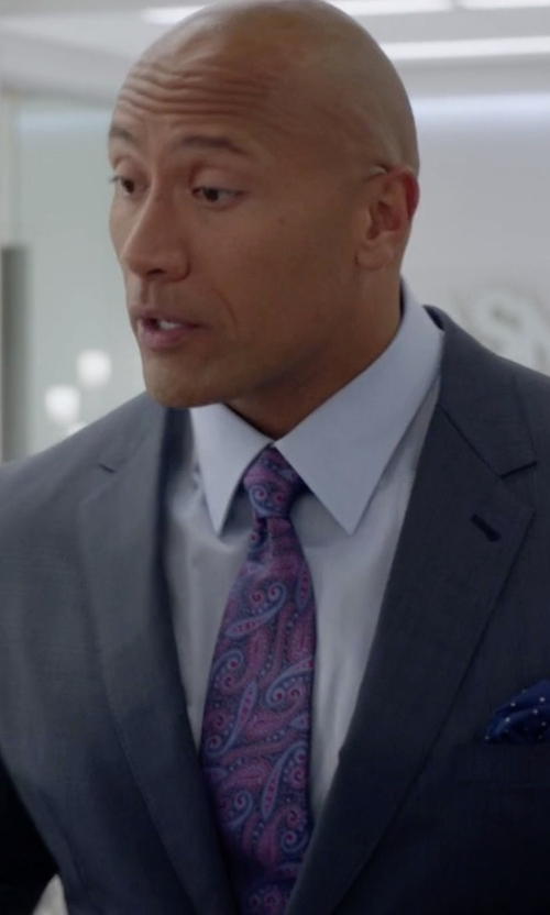 Dwayne Johnson with Eton of Sweden Paisley Silk Tie in Ballers