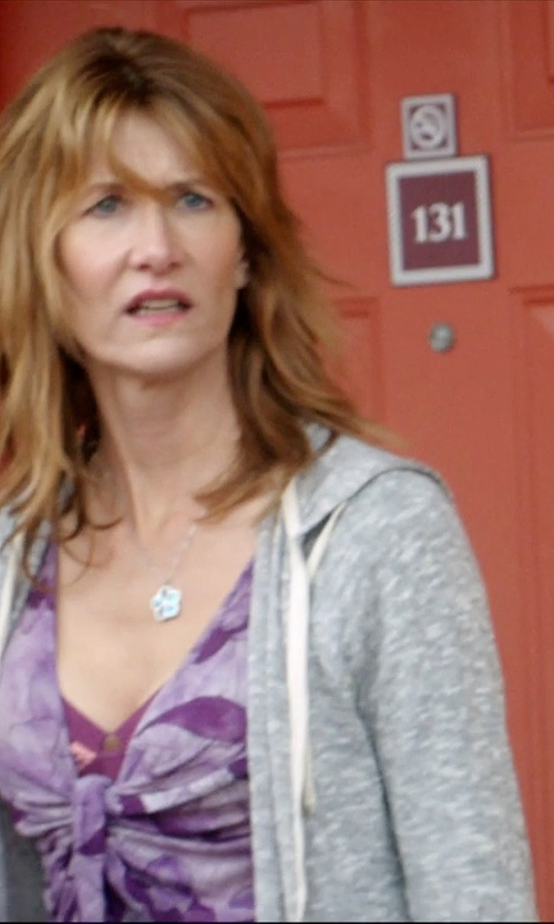 Laura Dern with J. Crew Weekend Zip Hoodie in 99 Homes