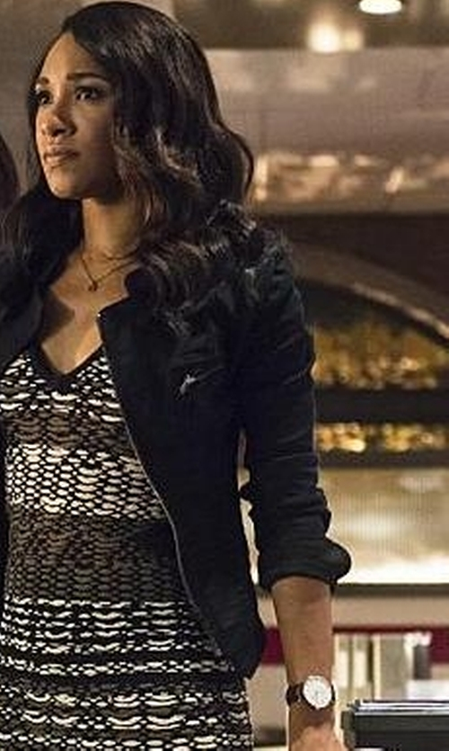 Candice Patton with Shinola The Runwell Leather Watch in The Flash