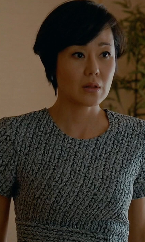Yunjin Kim with 3.1 Phillip Lim Paneled Braided Jacquard Tee in Mistresses