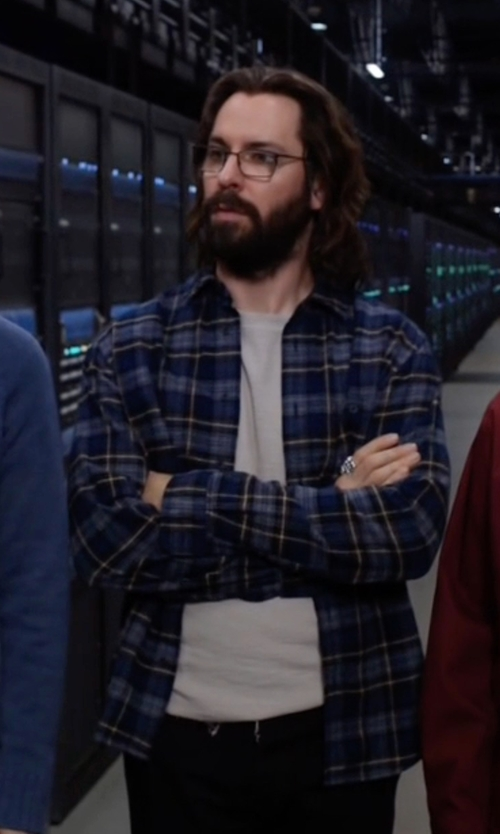 Martin Starr with Billy Reid John Plaid Long Sleeve Shirt in Silicon Valley