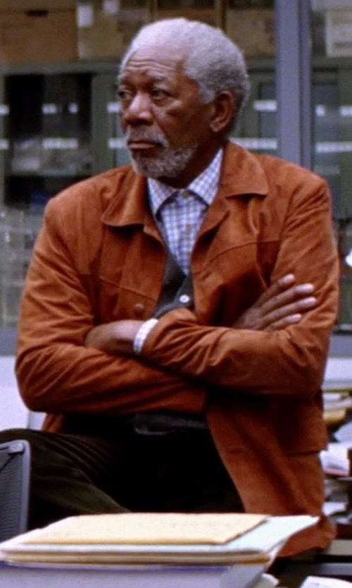 Morgan Freeman with FORZIERI Men's Brown Four Pocket Italian Suede Leather Jacket in Transcendence