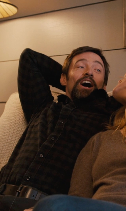 Hugh Jackman with Club Monaco Black and Green Small Box Plaid Flannel Shirt in Prisoners