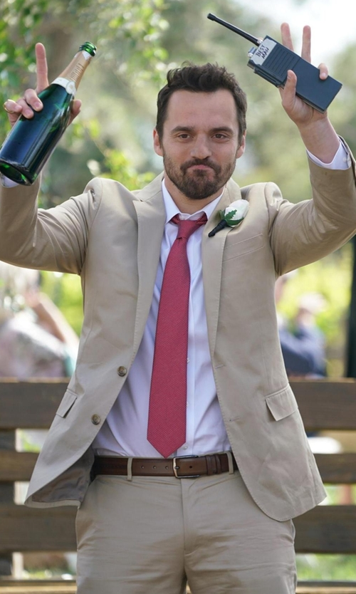 Jake Johnson with Tagliatore Two-Piece Suit in New Girl