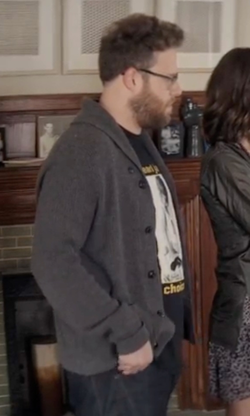 Seth Rogen with Original Penguin  Heritage Slim Fit Shawl Collar Cardigan in Neighbors 2: Sorority Rising