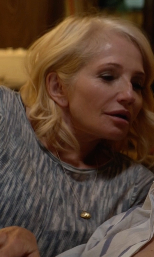 Ellen Barkin with Proenza Schouler Long-Sleeve Tie-Dye Cotton Jersey Tissue Tee in Animal Kingdom