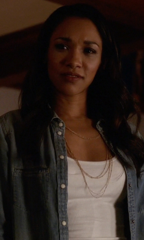 Candice Patton with All Saints Octavia Shirt in The Flash