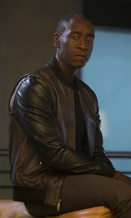 Don Cheadle with Todd Snyder Leather Bomber Jacket in Captain America: Civil War