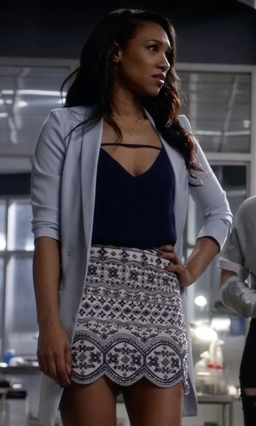 Candice Patton with Club Monaco Turlough Embellished Skirt in The Flash