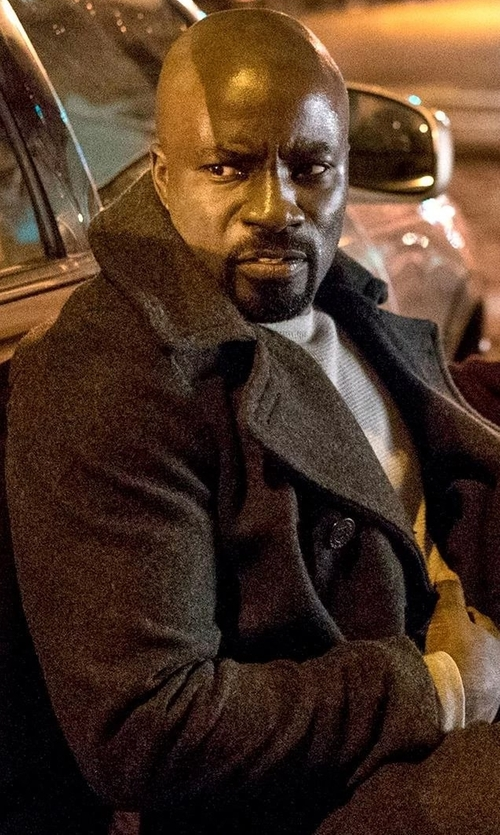 Mike Colter with Theory  Double-Breasted Peacoat in Marvel's Luke Cage