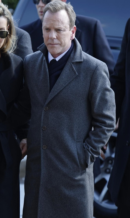 Kiefer Sutherland with Theory Delancey Double-Face Cashmere Coat in Designated Survivor