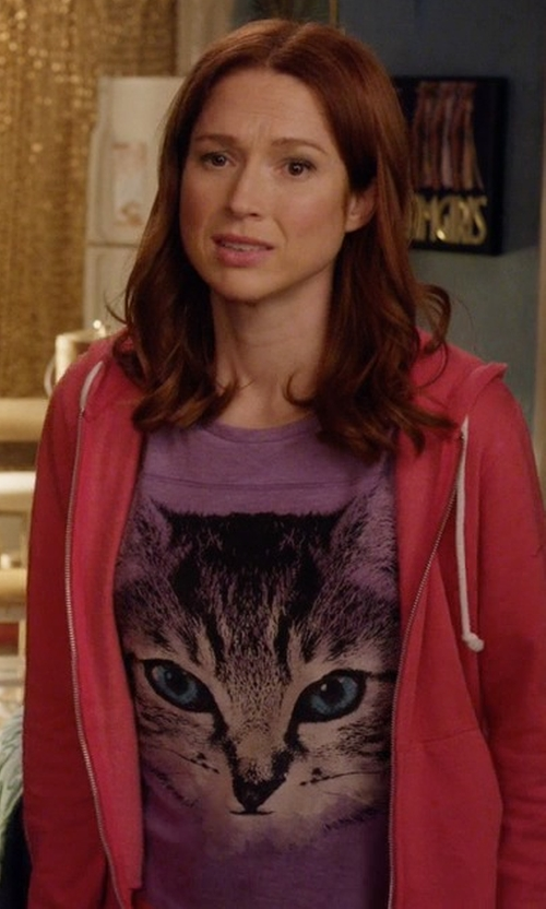 Ellie Kemper with The Mountain Big Face Cheshire Cat Graphic T-Shirt in Unbreakable Kimmy Schmidt